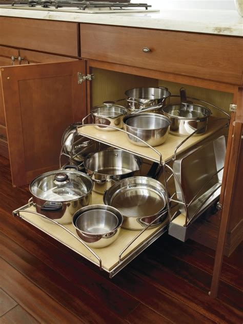 kitchen cabinet organizers for pots and pans pots and pans organizer base cabinet by thomasville cabinetry with sliding bottom shelf and lid