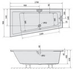 badewannen masse badewanne 170x90 andra links acryl trapezwanne