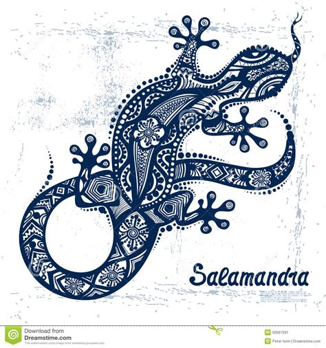 vector drawing of a lizard or salamander stock vector