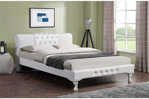 double king size bed knightsbridge designer bed white buttoned faux leather