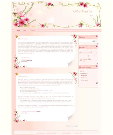 free girly templates for blogger templates novo blogger template girly diaries