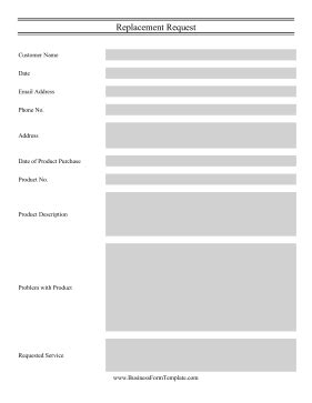 product request form template product replacement request template