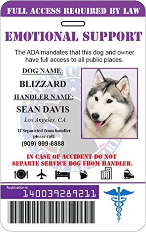 Emotional Support Dog Holographic Custom Id Card Purple Pet Supplies Emotional Support Animal Id Card Template