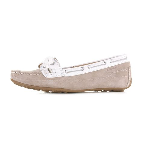 Decks Shoes Aydera Suede Series womens sebago bala taupe suede white moccasin deck boat shoes size ebay