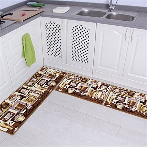 Kitchen Mat Sets by Carvapet 3 Non Slip Kitchen Mat Rubber Backing Doormat Runner Rug Set Coffee Design