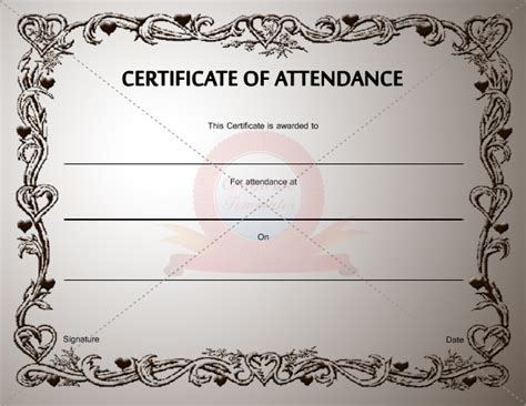 template for certificate of attendance certificate of attendance template certification of