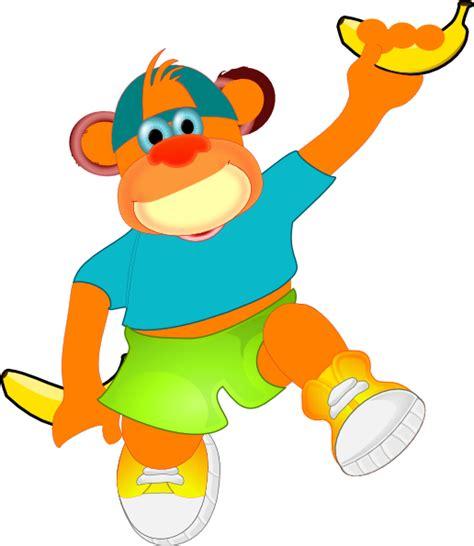 Monkey Banana Clipart monkey holding banana clip at clker vector clip royalty free domain