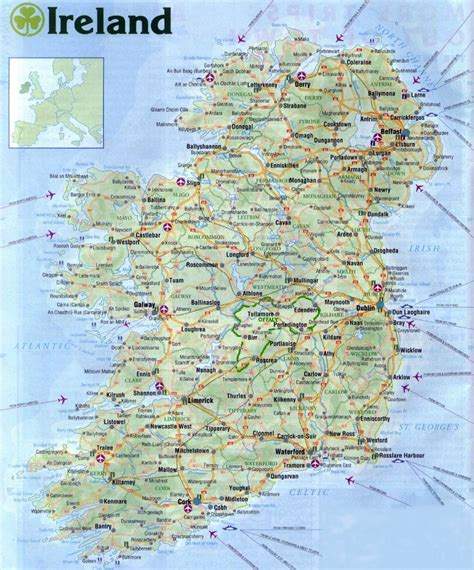 printable road maps ireland large road map of ireland with all cities airports and