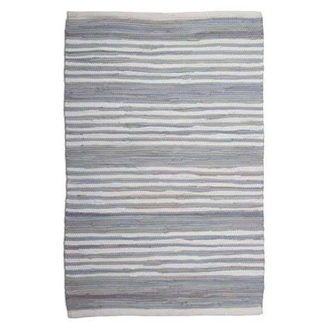 Tag Rugs by Tag Chindi Stripe Light Blue 2 Ft X 3 Ft Accent Rug