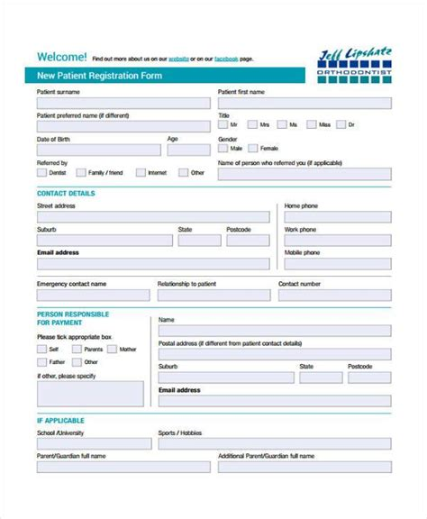 template new patient registration form template