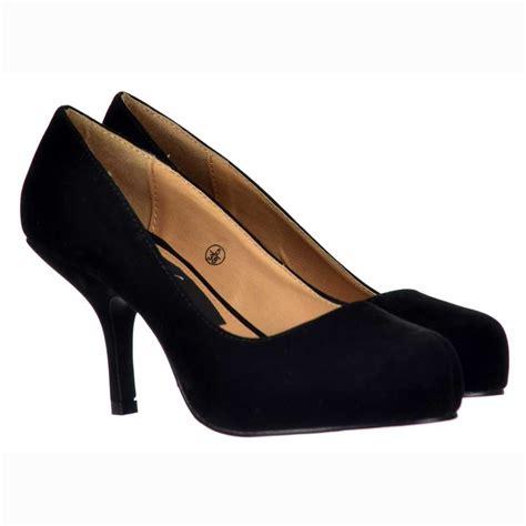 onlineshoe low kitten heel court shoes black suede
