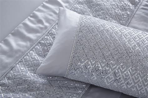 silver coverlet luxury sequin diamante duvet quilt cover bedding linen set