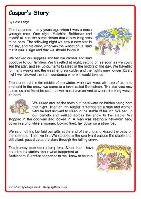 printable christmas stories caspars story