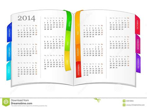 Calendar Book Calendar For 2014 In Open Book Stock Vector Image 34616855
