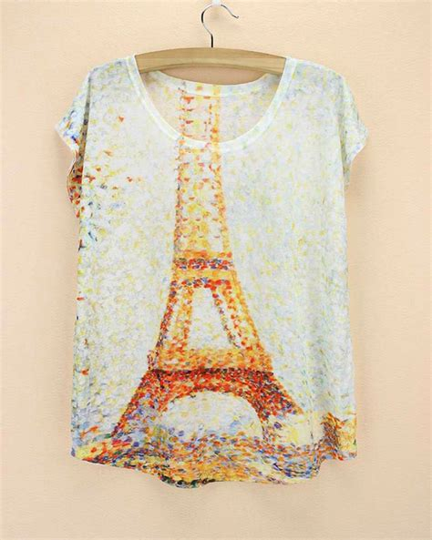 Tshirt Mile Point Store eiffel tower print tops tees for