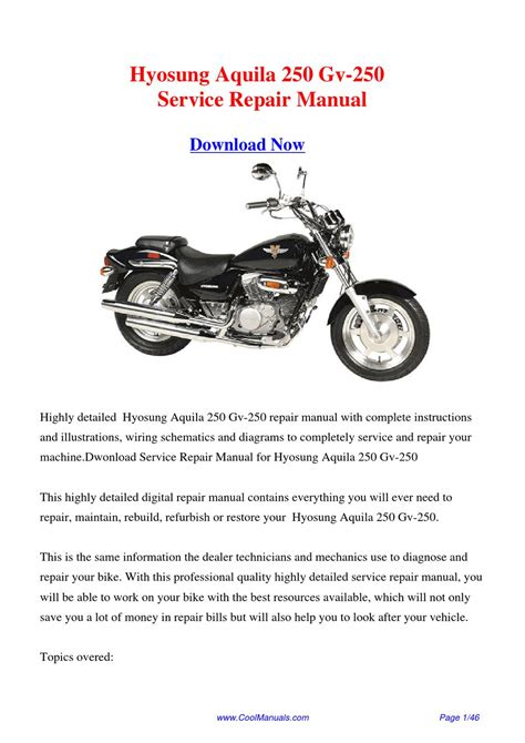 Hyosung Aquila 250 Gv 250 Workshop Manual By Hong Ling