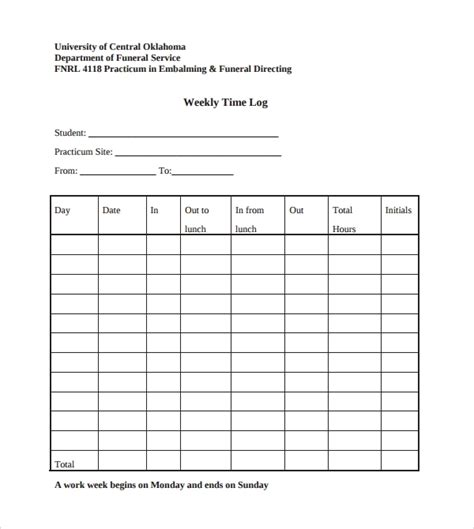 9 Weekly Log Templates To Download Sle Templates Time Log Template