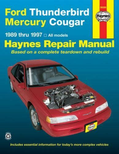 all car manuals free 1989 mercury sable engine control haynes repair manuals ebay