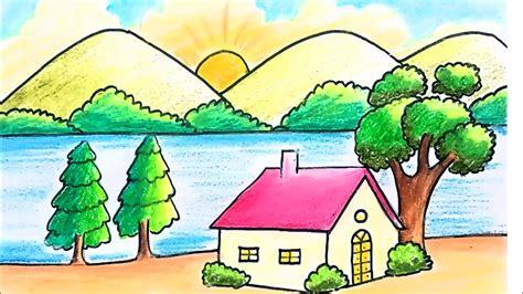 draw easy scenery  kids scenery  beginners