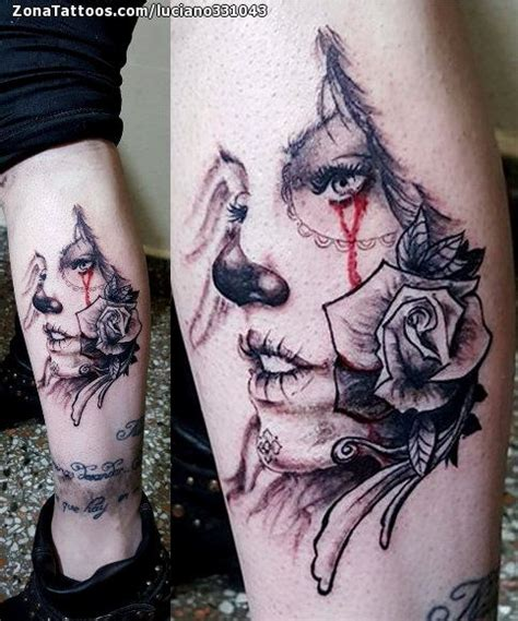 diseos gemeninos tatuajes en la pierna tatuaje de catrinas pierna