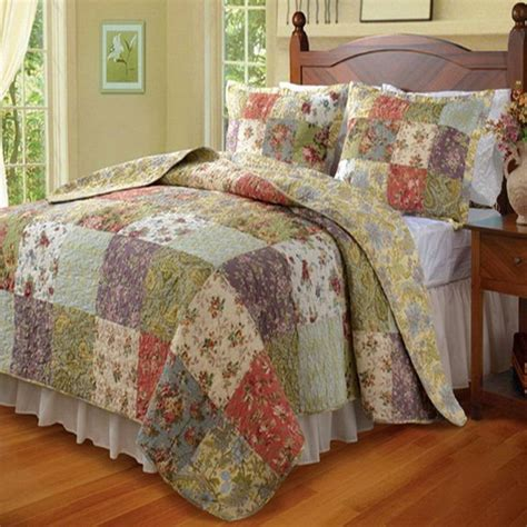 Cottage Patchwork - country cottage patchwork cotton quilt set quilt sets