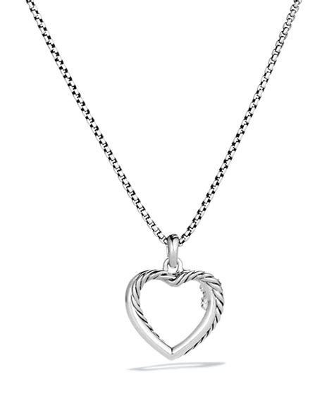 David Yurman Petite X Heart Pendant With Diamonds On Chain