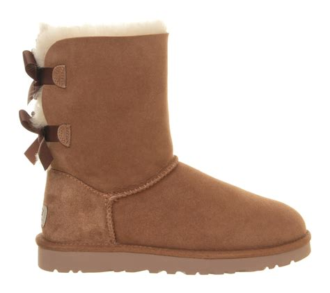ugg boots ugg bailey bow calf boots in brown chestnut lyst