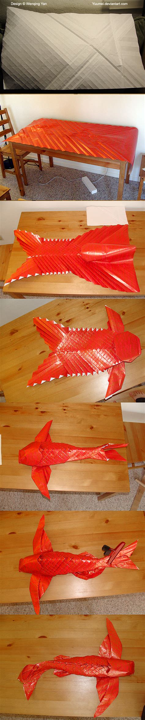 How To Make An Origami Koi Fish Step By Step - origami winged koi process by yuumei on deviantart