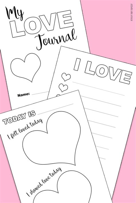 printable love journal free printable love journal for kids sunny day family