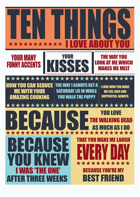 about you ten things i about you print by tea one sugar