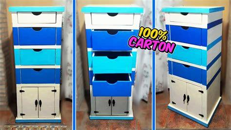 manualidades de carton mueble organizador diy como hacer  archivador  cajones youtube