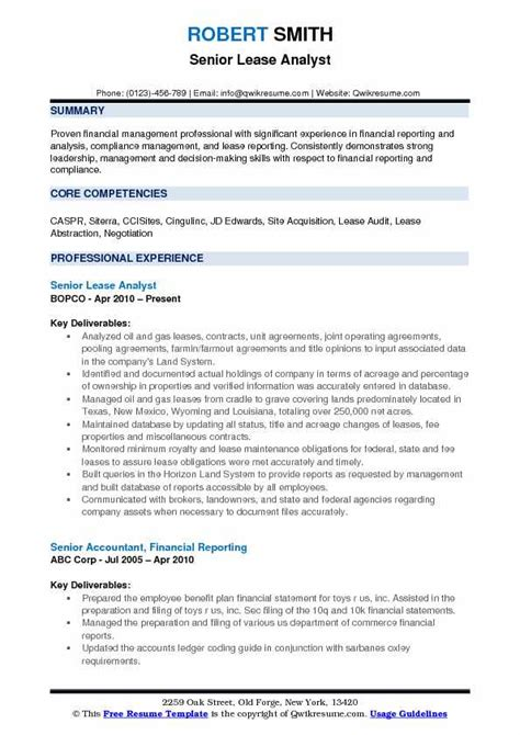 And Gas Lease Analyst Sle Resume by Lease Analyst Resume Sles Qwikresume