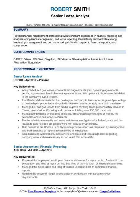 Lease Analyst Sle Resume by Lease Analyst Resume Sles Qwikresume
