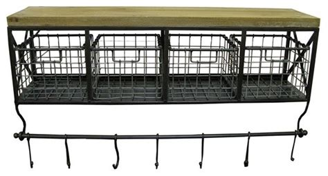 metal wood shelf with baskets 7 hooks traditional