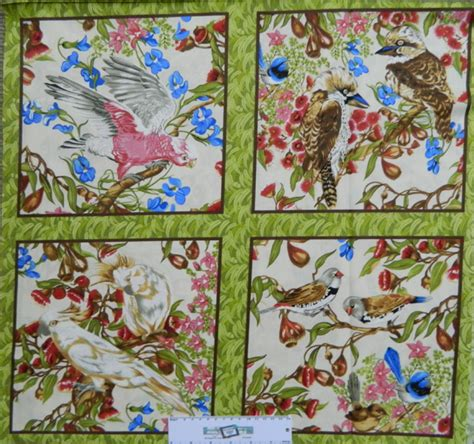 Patchwork Sydney - patchwork quilting sewing fabric australian birds panel