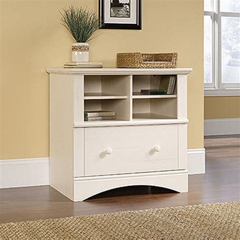 sauder harbor view file cabinet sauder harbor view antiqued white file cabinet 158002