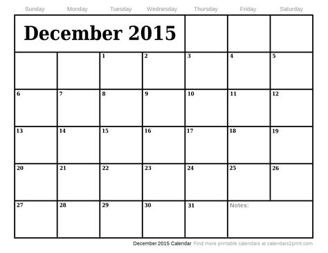 printable december calendar template 2015 2015 dec calendar template 2016