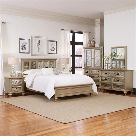5 piece queen bedroom set home styles visions 5 piece silver gold chagne finish