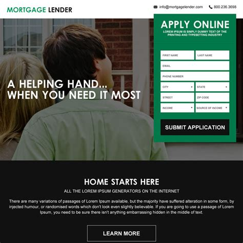 mortgage landing page templates mortgage landing page design templates for mortgage broker