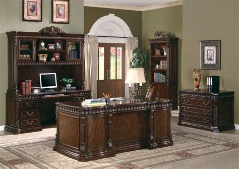 Wood Home Office Desks Traditional Carved Desk Furnishing Wood Home Office Furniture Set In Walnut