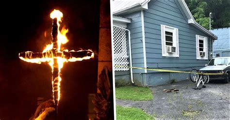 white man arrested  burning crosses  black neighbours