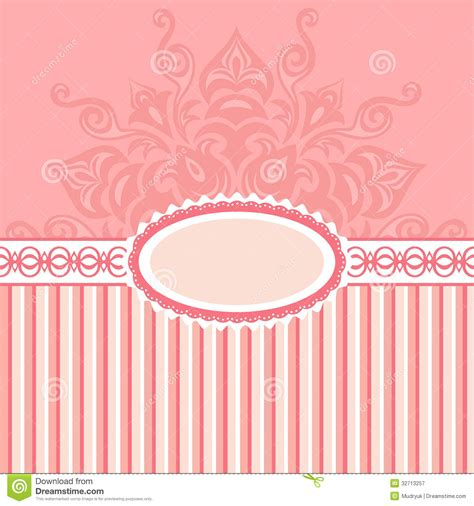 label design background romantic background with pattern and label pink stock