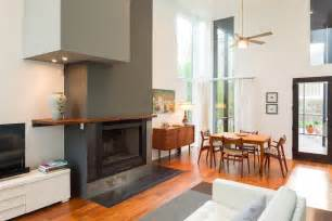 floating fireplace mantel living room contemporary with