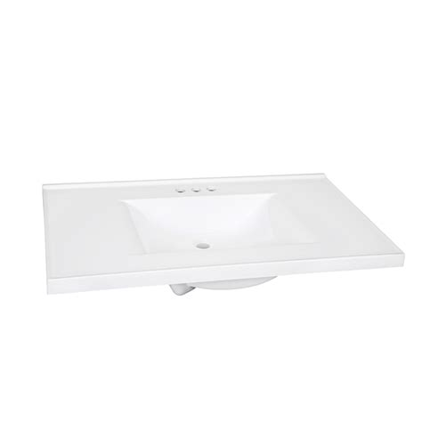 White Marble Vanity Top by Shop Style Selections Solid White Cultured Marble Integral