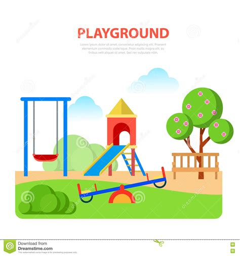 Playground Template Flat Style Modern Playground In Park Template Slide Seesaw Stock Vector Image 69373156
