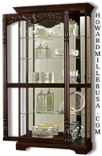 Large Curio Cabinet by Howard Miller Large Cherry Curio Display Cabinet Mirror