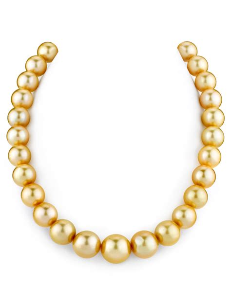 certified 12 15mm golden south sea pearl necklace aaaa