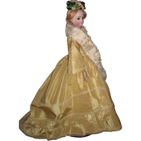 D524 A Green 18 quot antique fashion doll with stunning antique gown barrois from threesistersantiques