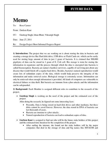 Informal Memo Template best photos of informal report format informal report