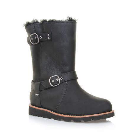 ugg boots for black ugg noira engineer boots in black lyst